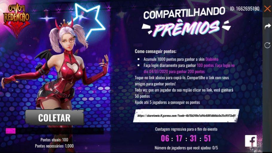Free Fire Como Pegar A Skin Diabinha De Graca Critical Hits
